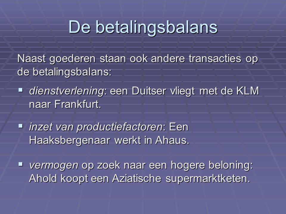 De betalingsbalans Naast goederen staan ook andere transacties op de betalingsbalans:  dienstverlening: een Duitser vliegt met de KLM naar Frankfurt.