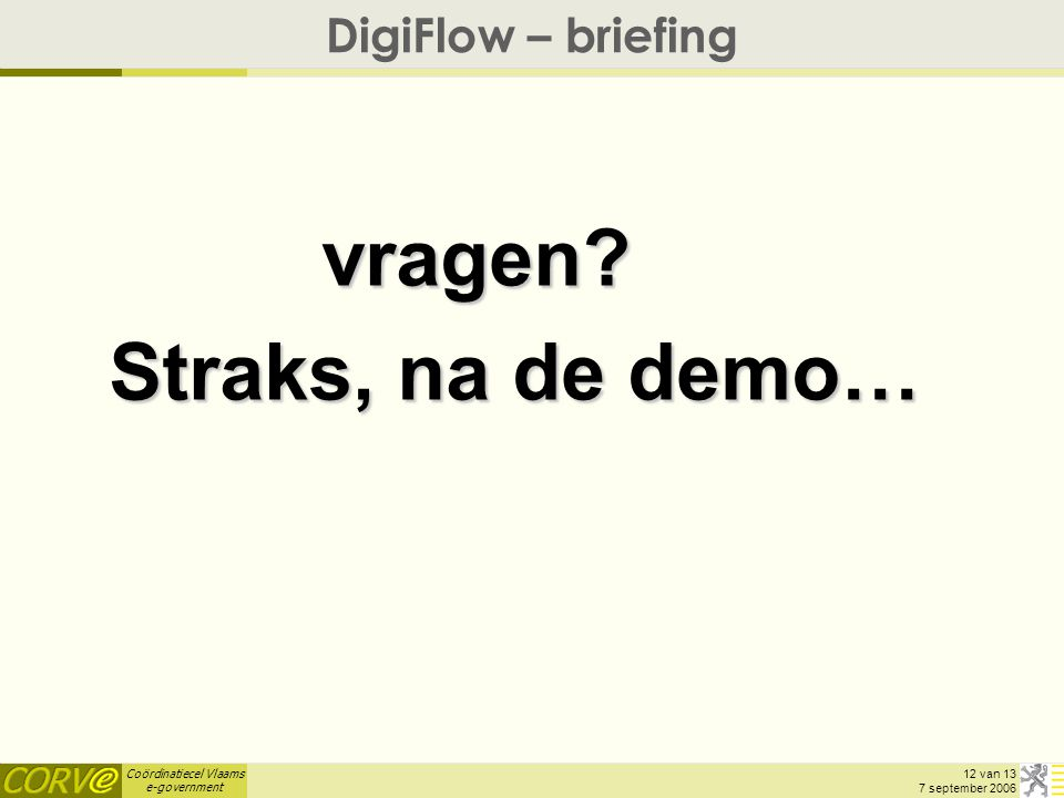 Coördinatiecel Vlaams e-government 12 van 13 7 september 2006 DigiFlow – briefing vragen.