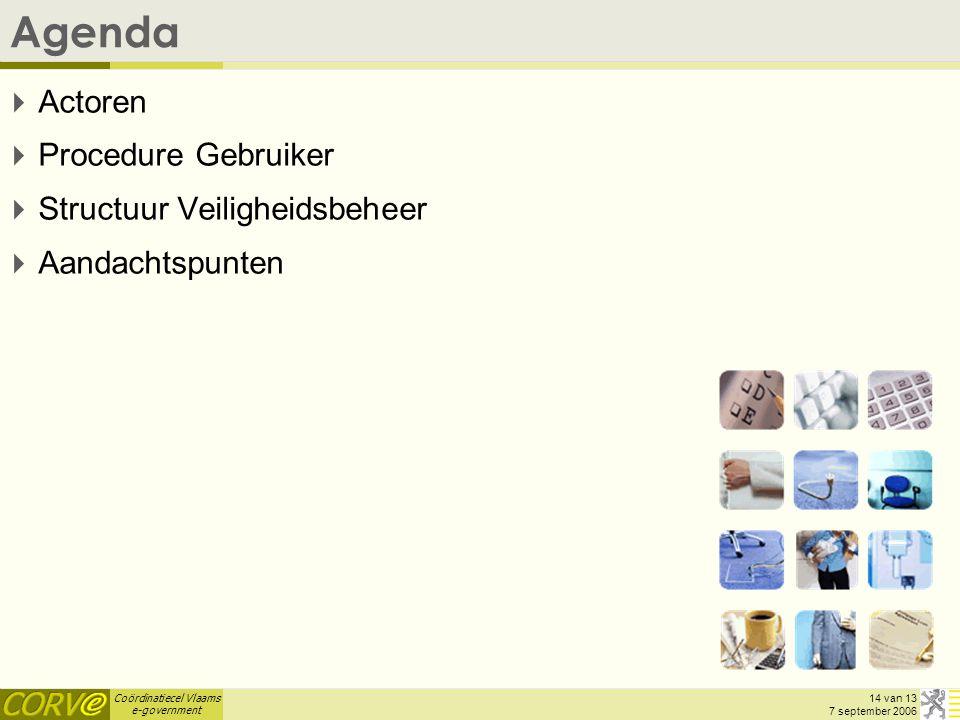 Coördinatiecel Vlaams e-government 14 van 13 7 september 2006 Agenda  Actoren  Procedure Gebruiker  Structuur Veiligheidsbeheer  Aandachtspunten