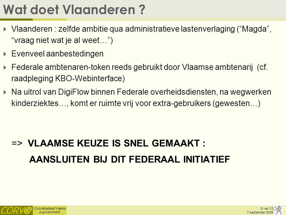 Coördinatiecel Vlaams e-government 6 van 13 7 september 2006 Wat doet Vlaanderen .