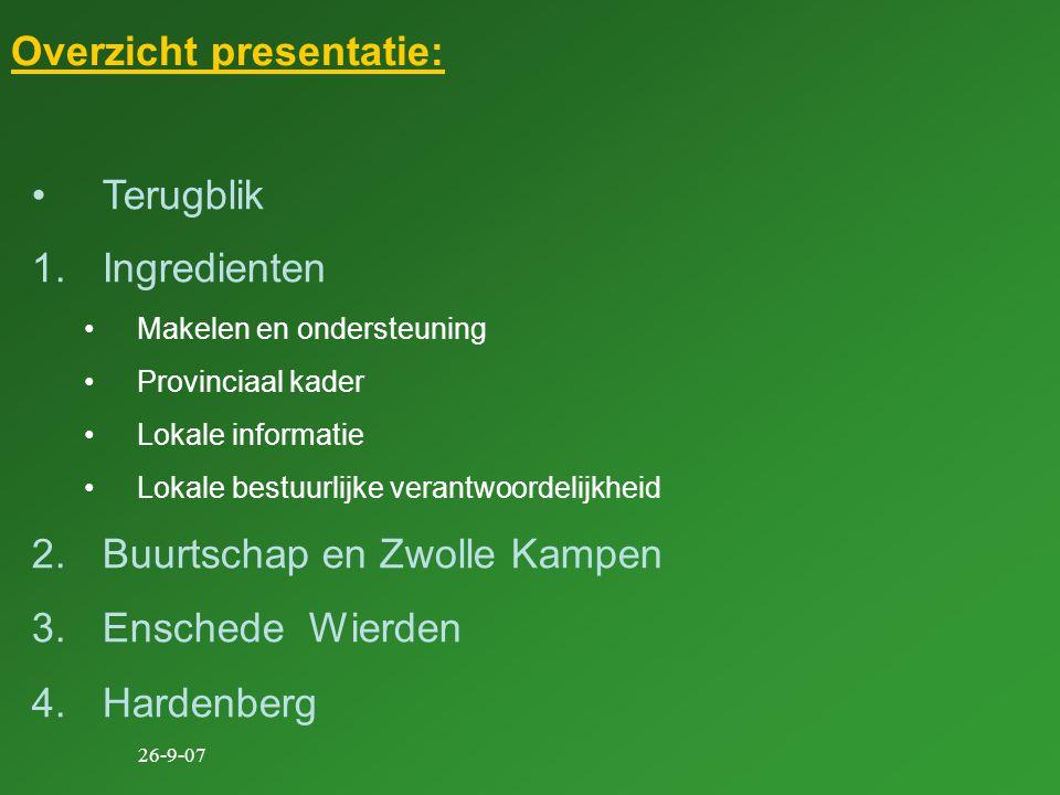 26-9-07 Overzicht presentatie: Terugblik 1.Ingredienten Makelen en ondersteuning Provinciaal kader Lokale informatie Lokale bestuurlijke verantwoordelijkheid 2.Buurtschap en Zwolle Kampen 3.Enschede Wierden 4.Hardenberg