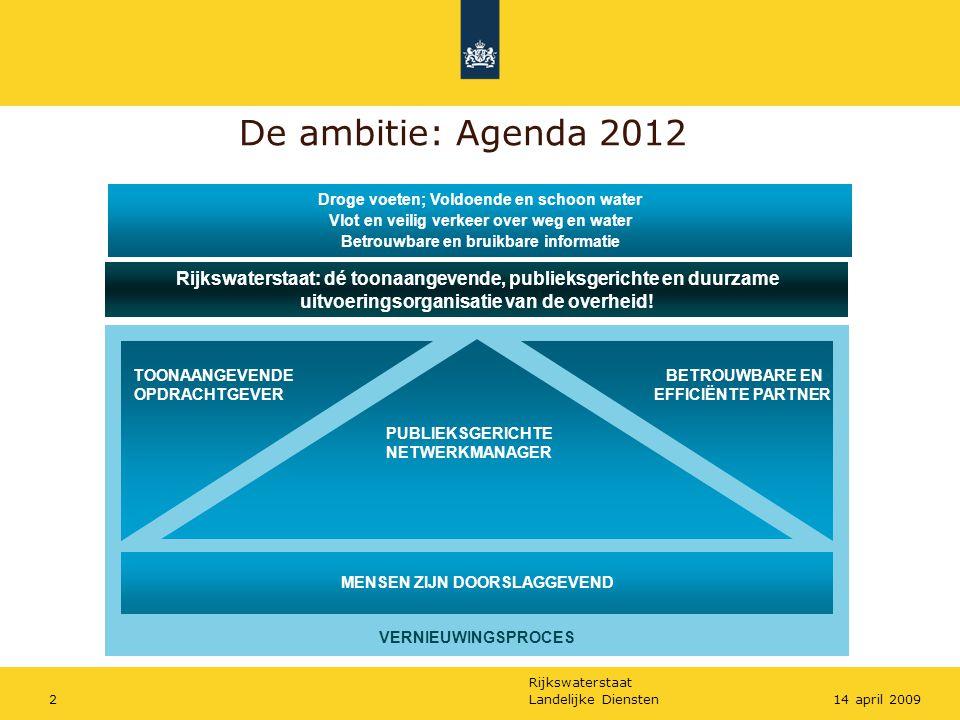 Rijkswaterstaat Landelijke Diensten214 april 2009 De ambitie: Agenda 2012 Rijkswaterstaat: dé toonaangevende, publieksgerichte en duurzame uitvoeringsorganisatie van de overheid.