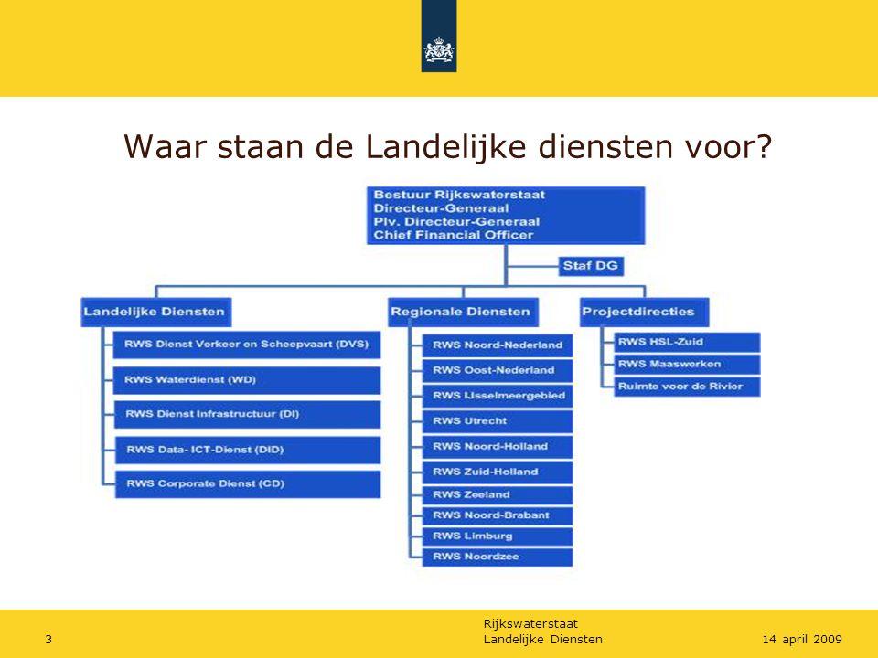 Rijkswaterstaat Landelijke Diensten314 april 2009 Waar staan de Landelijke diensten voor?