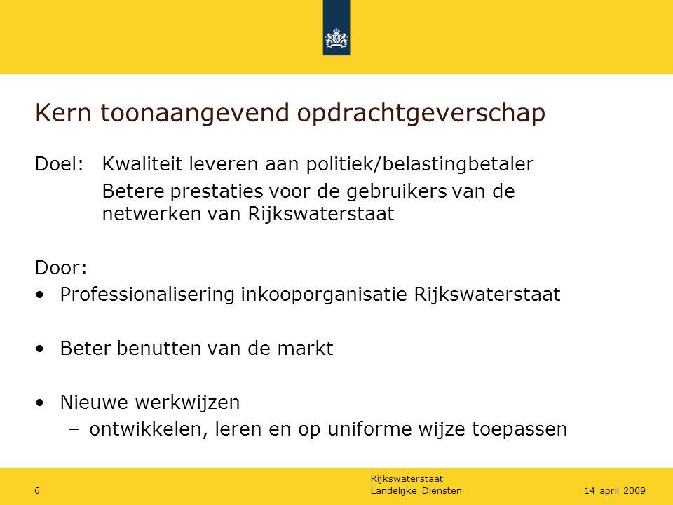 Rijkswaterstaat Landelijke Diensten614 april 2009 Kern toonaangevend opdrachtgeverschap Doel: Kwaliteit leveren aan politiek/belastingbetaler Betere p