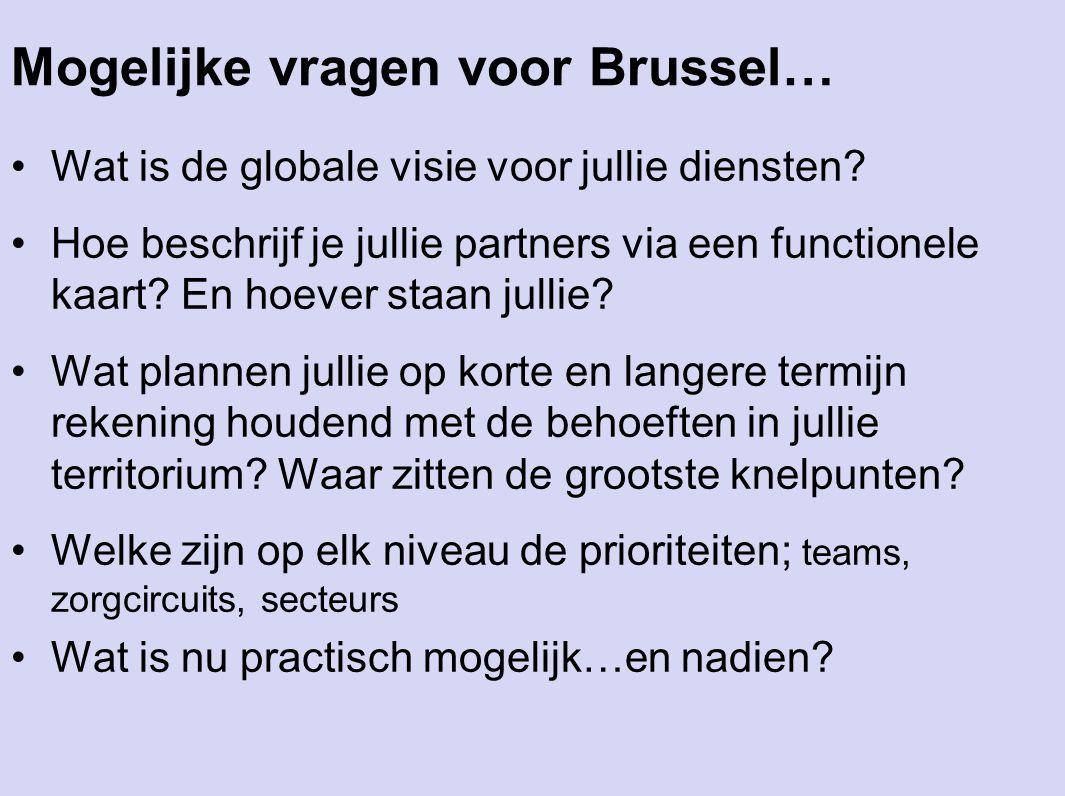 Mogelijke vragen voor Brussel… Wat is de globale visie voor jullie diensten? Hoe beschrijf je jullie partners via een functionele kaart? En hoever sta