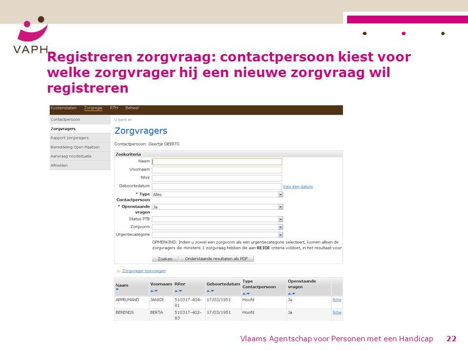 Registreren zorgvraag: contactpersoon kiest voor welke zorgvrager hij een nieuwe zorgvraag wil registreren Vlaams Agentschap voor Personen met een Handicap22