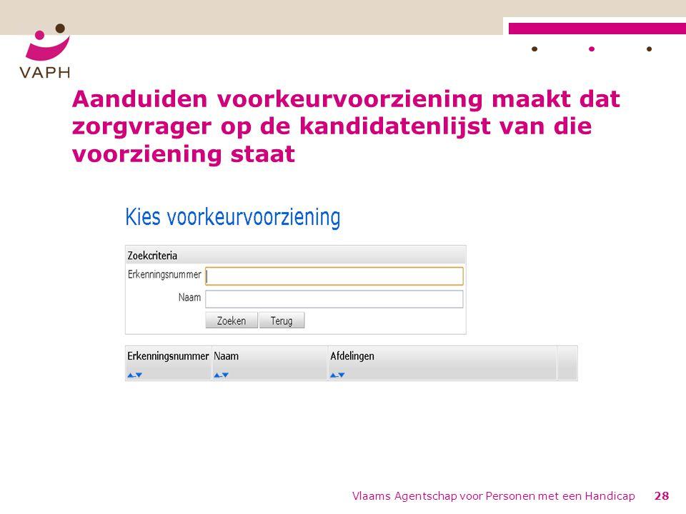 Aanduiden voorkeurvoorziening maakt dat zorgvrager op de kandidatenlijst van die voorziening staat Vlaams Agentschap voor Personen met een Handicap28