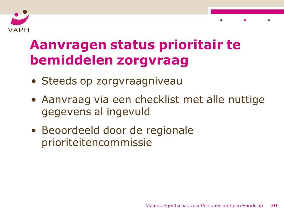 Aanvragen status prioritair te bemiddelen zorgvraag Steeds op zorgvraagniveau Aanvraag via een checklist met alle nuttige gegevens al ingevuld Beoorde