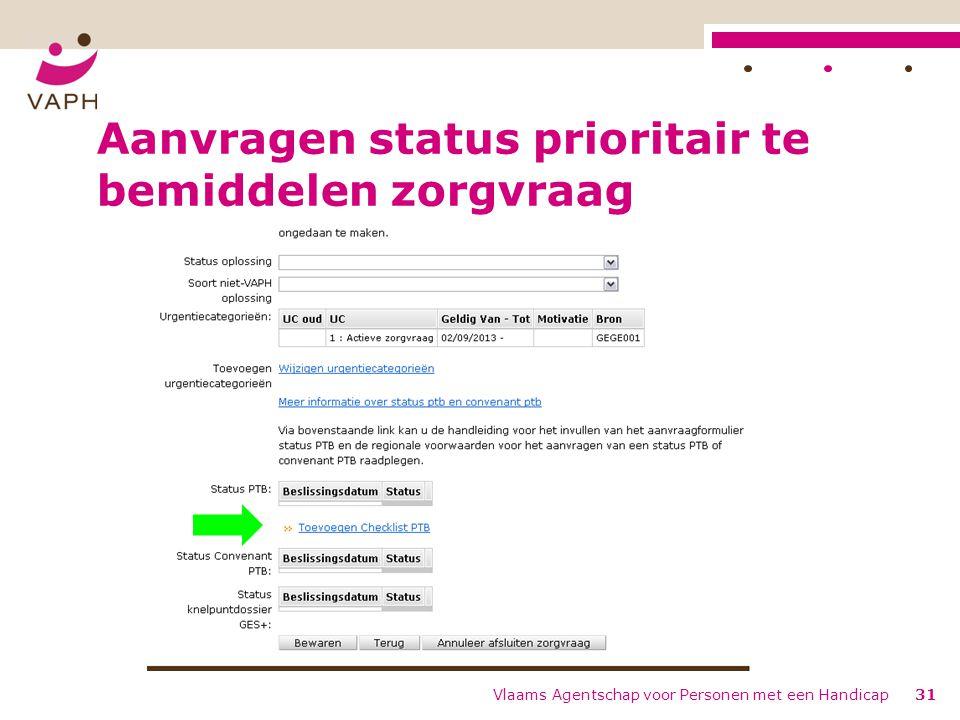 Aanvragen status prioritair te bemiddelen zorgvraag Vlaams Agentschap voor Personen met een Handicap31