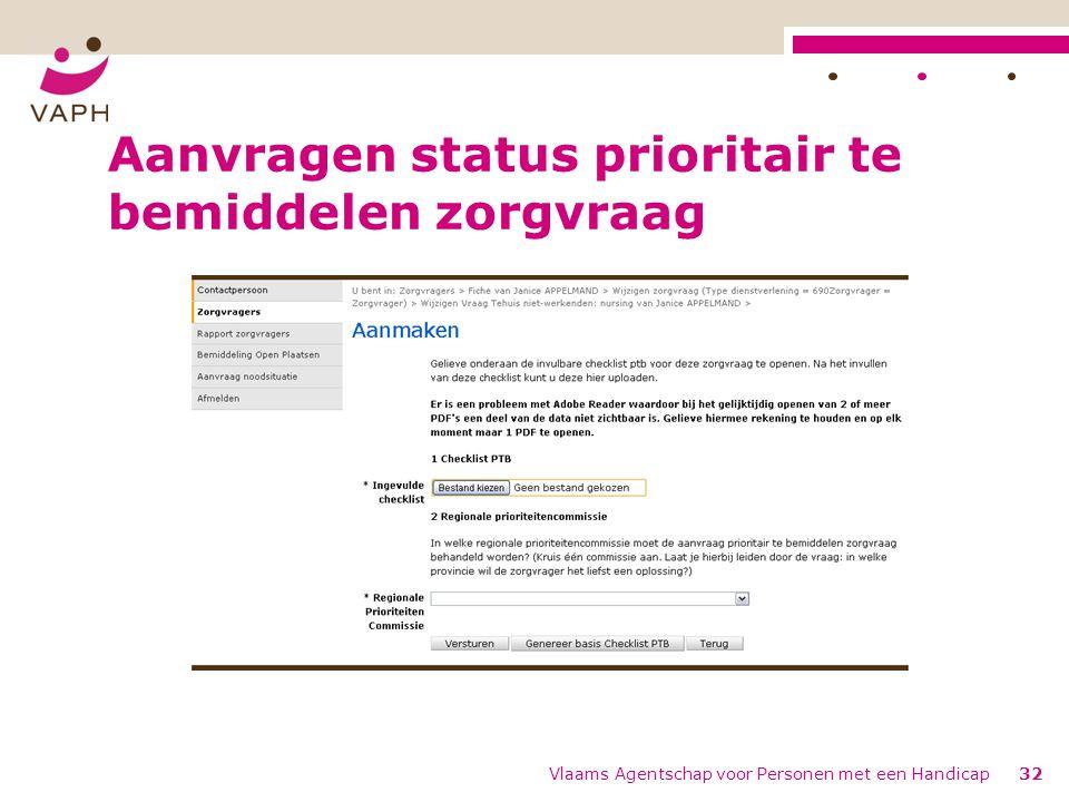 Aanvragen status prioritair te bemiddelen zorgvraag Vlaams Agentschap voor Personen met een Handicap32