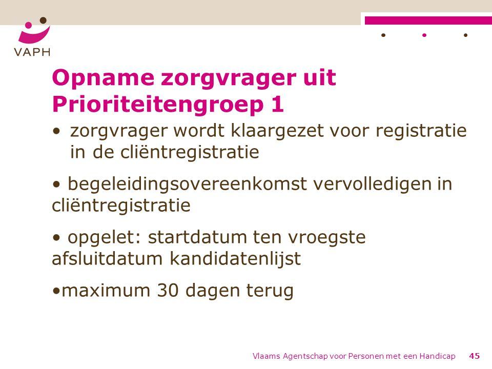 Opname zorgvrager uit Prioriteitengroep 1 zorgvrager wordt klaargezet voor registratie in de cliëntregistratie begeleidingsovereenkomst vervolledigen in cliëntregistratie opgelet: startdatum ten vroegste afsluitdatum kandidatenlijst maximum 30 dagen terug Vlaams Agentschap voor Personen met een Handicap45