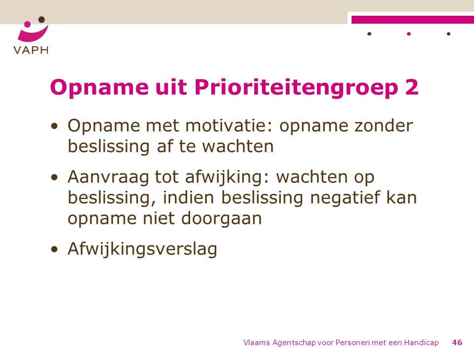 Opname uit Prioriteitengroep 2 Opname met motivatie: opname zonder beslissing af te wachten Aanvraag tot afwijking: wachten op beslissing, indien besl