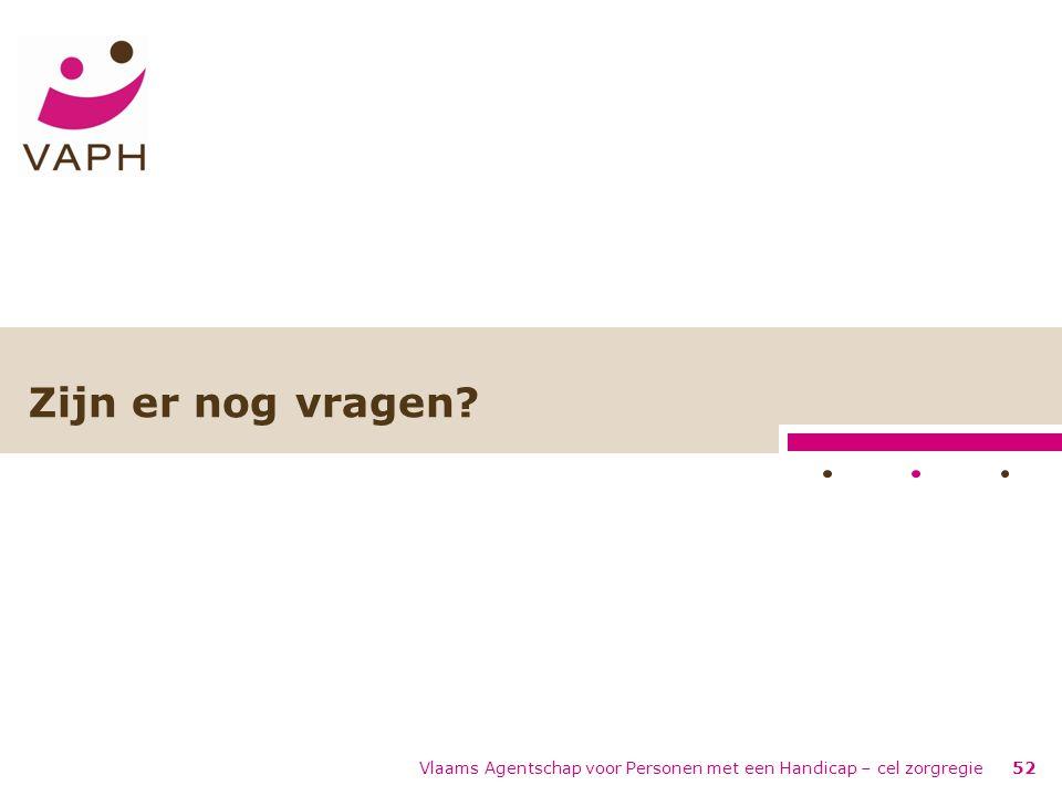 Vlaams Agentschap voor Personen met een Handicap – cel zorgregie52 Zijn er nog vragen?