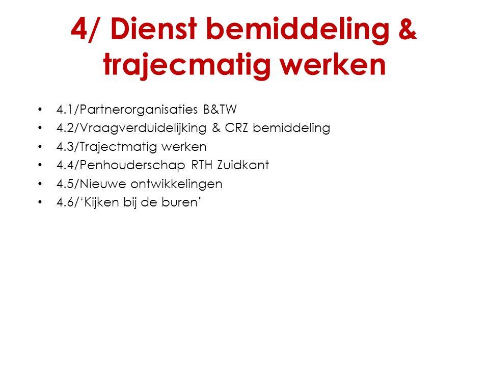 4/ Dienst bemiddeling & trajecmatig werken 4.1/Partnerorganisaties B&TW 4.2/Vraagverduidelijking & CRZ bemiddeling 4.3/Trajectmatig werken 4.4/Penhoud