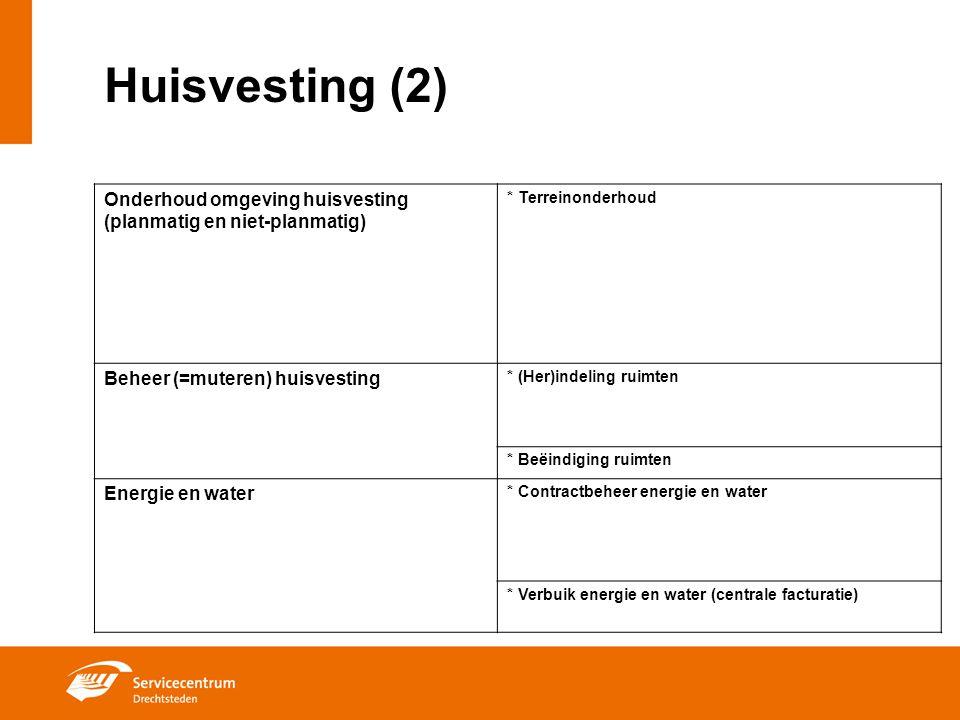 Huisvesting (2) Onderhoud omgeving huisvesting (planmatig en niet-planmatig) * Terreinonderhoud Beheer (=muteren) huisvesting * (Her)indeling ruimten