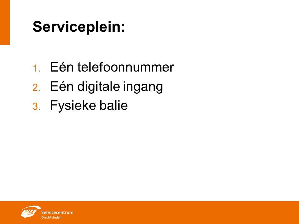Serviceplein: 1. Eén telefoonnummer 2. Eén digitale ingang 3. Fysieke balie