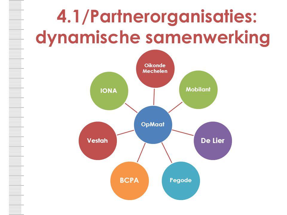 4.1/Partnerorganisaties: dynamische samenwerking OpMaat Oikonde Mechelen Mobilant De Lier Pegode BCPA VestahIONA