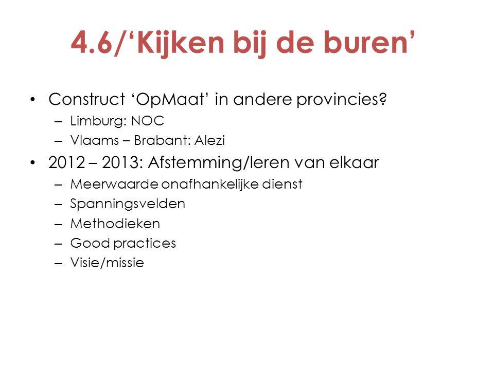 4.6/'Kijken bij de buren' Construct 'OpMaat' in andere provincies? – Limburg: NOC – Vlaams – Brabant: Alezi 2012 – 2013: Afstemming/leren van elkaar –