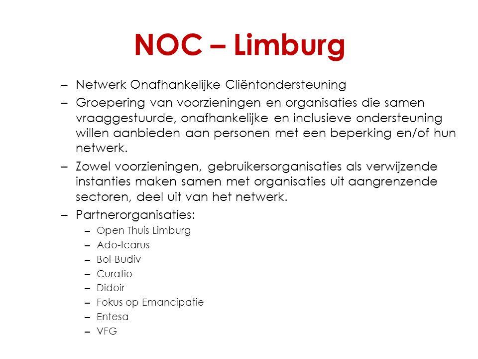 NOC – Limburg – Netwerk Onafhankelijke Cliëntondersteuning – Groepering van voorzieningen en organisaties die samen vraaggestuurde, onafhankelijke en