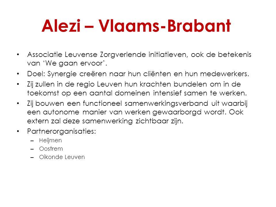 Alezi – Vlaams-Brabant Associatie Leuvense Zorgverlende initiatieven, ook de betekenis van 'We gaan ervoor'. Doel: Synergie creëren naar hun cliënten