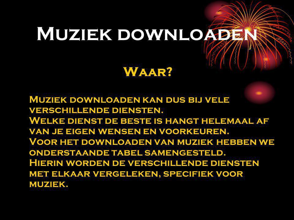 Muziek downloaden Waar. Muziek downloaden kan dus bij vele verschillende diensten.