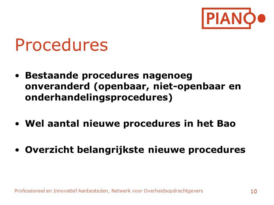 Professioneel en Innovatief Aanbesteden, Netwerk voor Overheidsopdrachtgevers 10 Procedures Bestaande procedures nagenoeg onveranderd (openbaar, niet-openbaar en onderhandelingsprocedures) Wel aantal nieuwe procedures in het Bao Overzicht belangrijkste nieuwe procedures