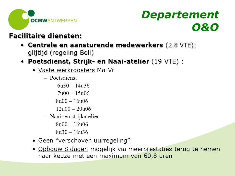 Departement O&O Facilitaire diensten: Centrale en aansturende medewerkers (2.8 VTE): glijtijd (regeling Bell)Centrale en aansturende medewerkers (2.8 VTE): glijtijd (regeling Bell) Poetsdienst, Strijk- en Naai-atelier (19 VTE) :Poetsdienst, Strijk- en Naai-atelier (19 VTE) : Vaste werkroosters Ma-Vr –Poetsdienst 6u30 – 14u36 7u00 – 15u06 8u00 – 16u06 12u00 – 20u06 –Naai- en strijkatelier 8u00 – 16u06 8u30 – 16u36 Geen verschoven uurregeling Opbouw 8 dagen mogelijk via meerprestaties terug te nemen naar keuze met een maximum van 60,8 uren
