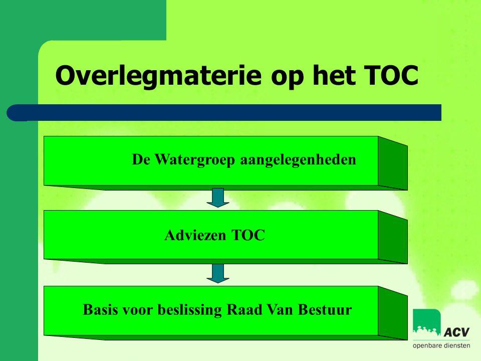 Overlegmaterie op het TOC Basis voor beslissing Raad Van Bestuur De Watergroep aangelegenheden Adviezen TOC