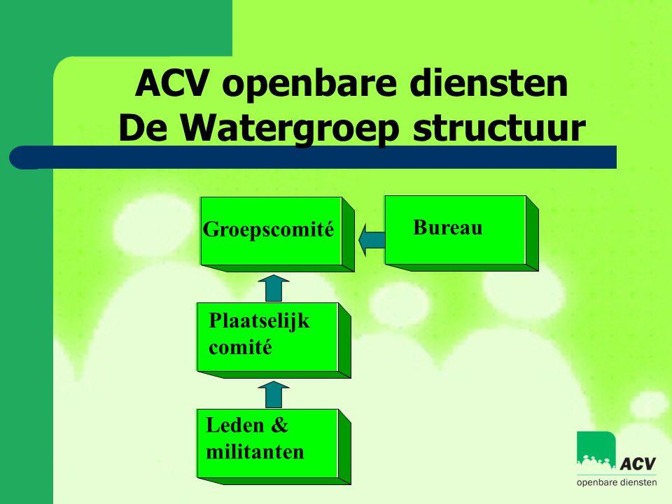 ACV openbare diensten De Watergroep structuur Groepscomité Plaatselijk comité Leden & militanten Bureau