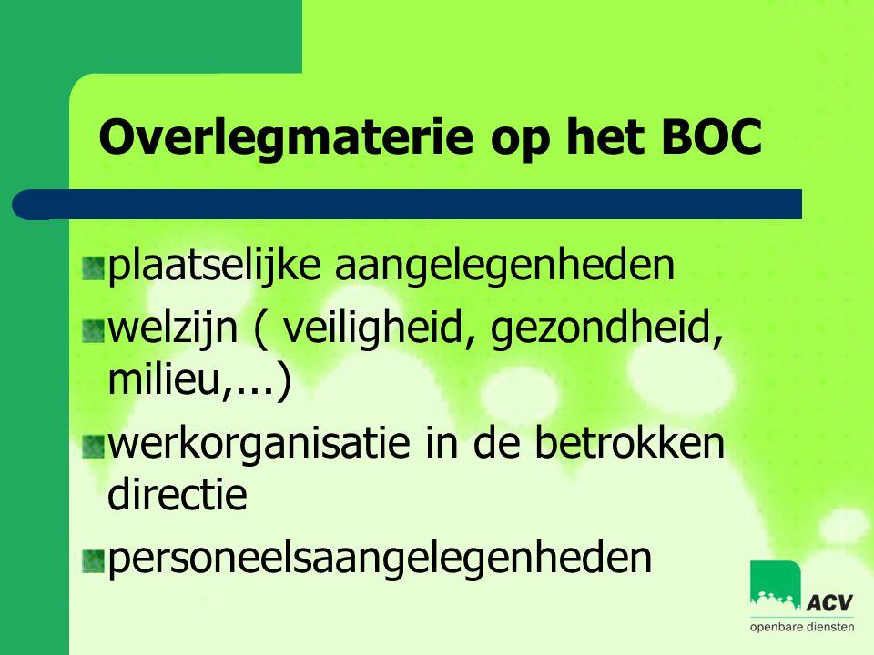 Overlegmaterie op het BOC plaatselijke aangelegenheden welzijn ( veiligheid, gezondheid, milieu,...) werkorganisatie in de betrokken directie personeelsaangelegenheden