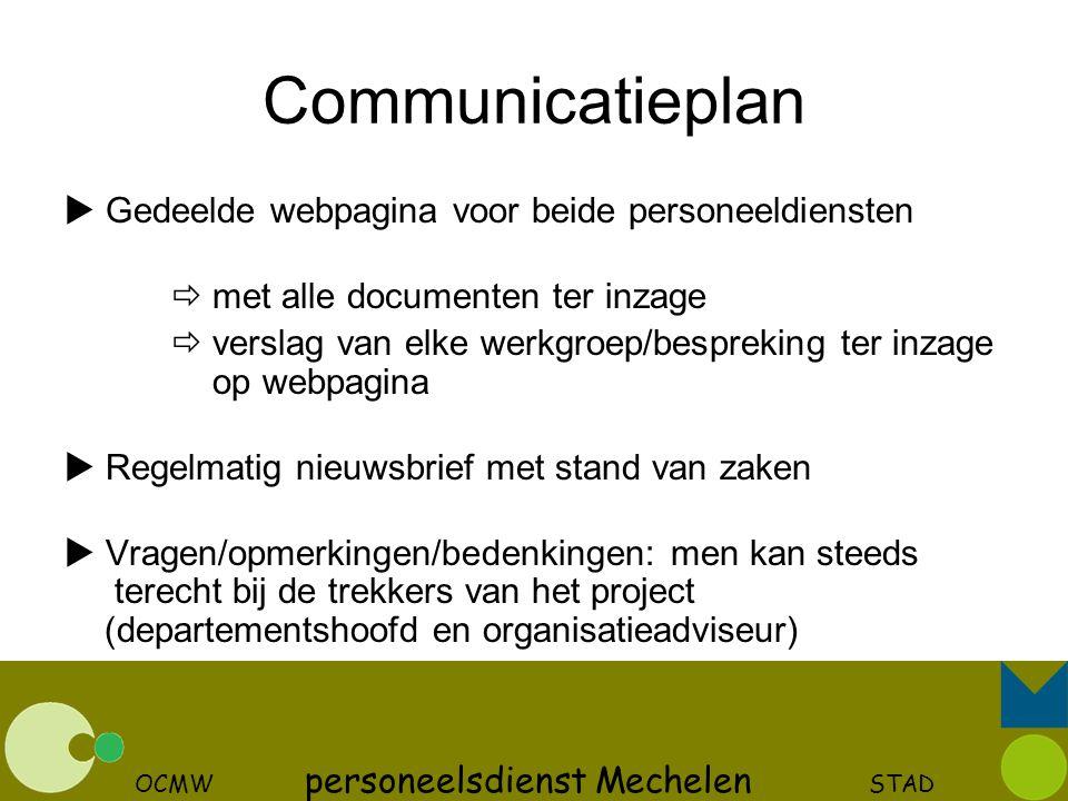 OCMW personeelsdienst Mechelen STAD Communicatieplan  Gedeelde webpagina voor beide personeeldiensten  met alle documenten ter inzage  verslag van