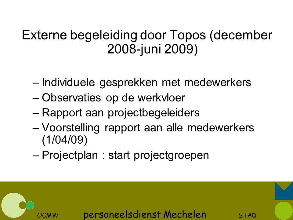 OCMW personeelsdienst Mechelen STAD Externe begeleiding door Topos (december 2008-juni 2009) –Individuele gesprekken met medewerkers –Observaties op d