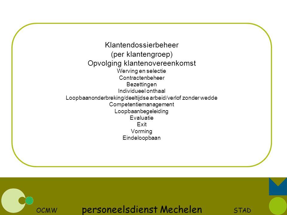 OCMW personeelsdienst Mechelen STAD Klantendossierbeheer (per klantengroep) Opvolging klantenovereenkomst Werving en selectie Contractenbeheer Bezetti