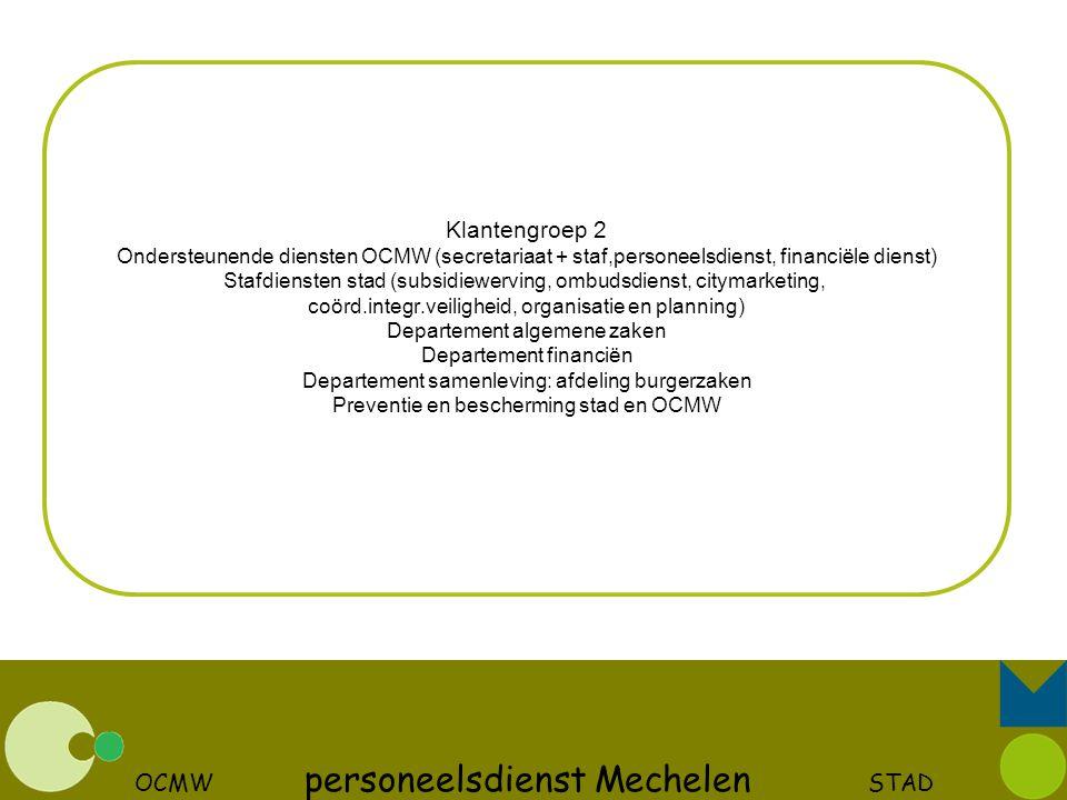 OCMW personeelsdienst Mechelen STAD Klantengroep 2 Ondersteunende diensten OCMW (secretariaat + staf,personeelsdienst, financiële dienst) Stafdiensten