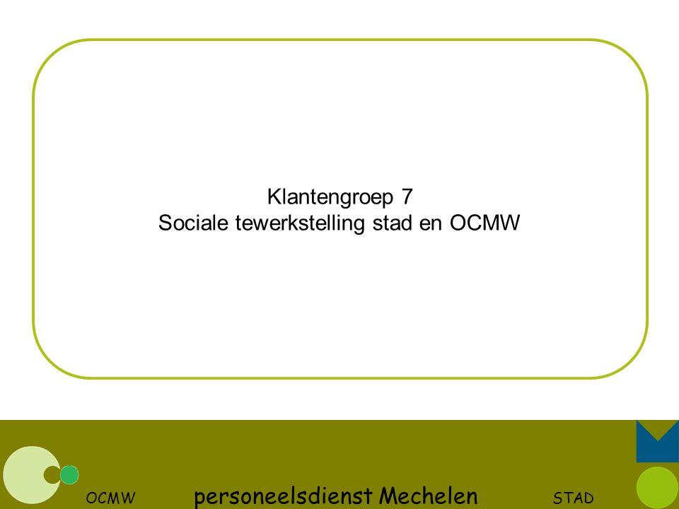OCMW personeelsdienst Mechelen STAD Klantengroep 7 Sociale tewerkstelling stad en OCMW