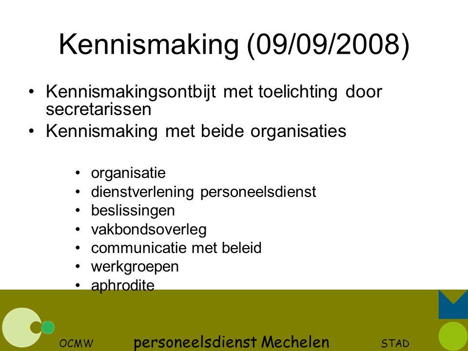 OCMW personeelsdienst Mechelen STAD Kennismaking (09/09/2008) Kennismakingsontbijt met toelichting door secretarissen Kennismaking met beide organisat