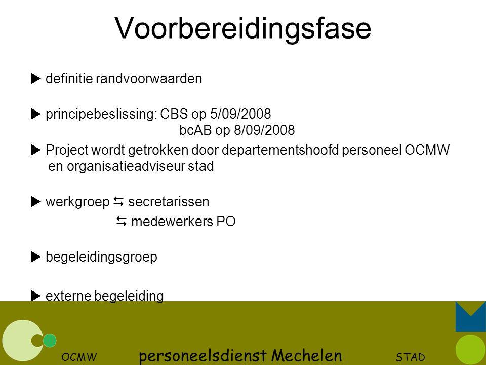 OCMW personeelsdienst Mechelen STAD Voorbereidingsfase  definitie randvoorwaarden  principebeslissing: CBS op 5/09/2008 bcAB op 8/09/2008  Project
