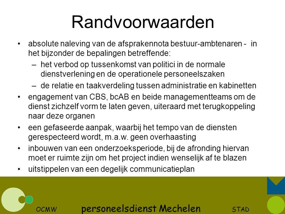 OCMW personeelsdienst Mechelen STAD Randvoorwaarden absolute naleving van de afsprakennota bestuur-ambtenaren - in het bijzonder de bepalingen betreff