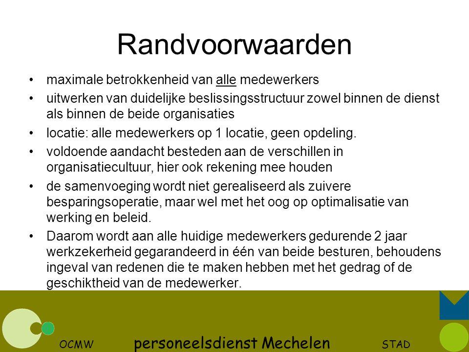 OCMW personeelsdienst Mechelen STAD Randvoorwaarden maximale betrokkenheid van alle medewerkers uitwerken van duidelijke beslissingsstructuur zowel bi