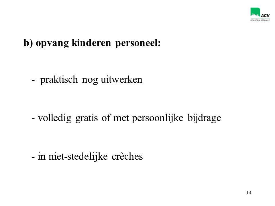 14 - praktisch nog uitwerken - volledig gratis of met persoonlijke bijdrage - in niet-stedelijke crèches b) opvang kinderen personeel: