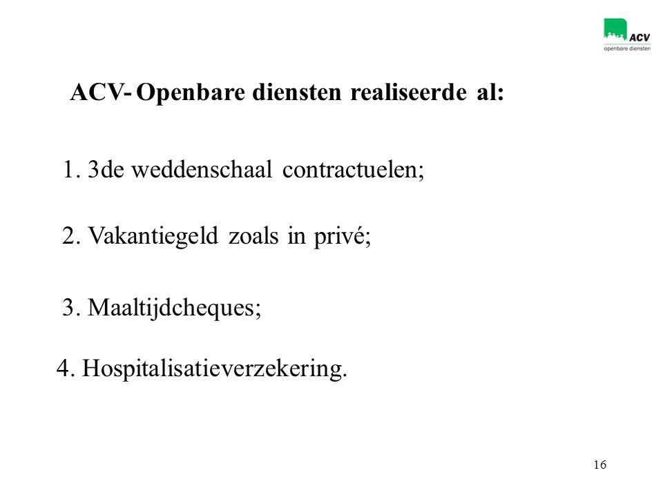 16 ACV-Openbare diensten realiseerde al: 1. 3de weddenschaal contractuelen; 4.