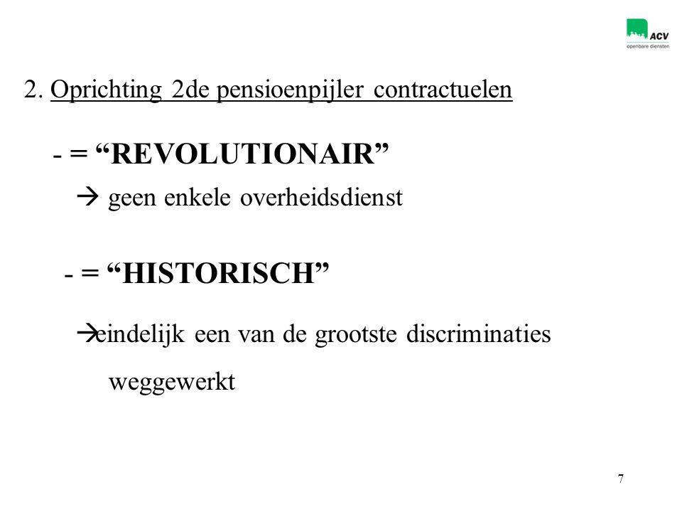"""7 2. Oprichting 2de pensioenpijler contractuelen - = """"REVOLUTIONAIR""""  geen enkele overheidsdienst - = """"HISTORISCH""""  eindelijk een van de grootste di"""