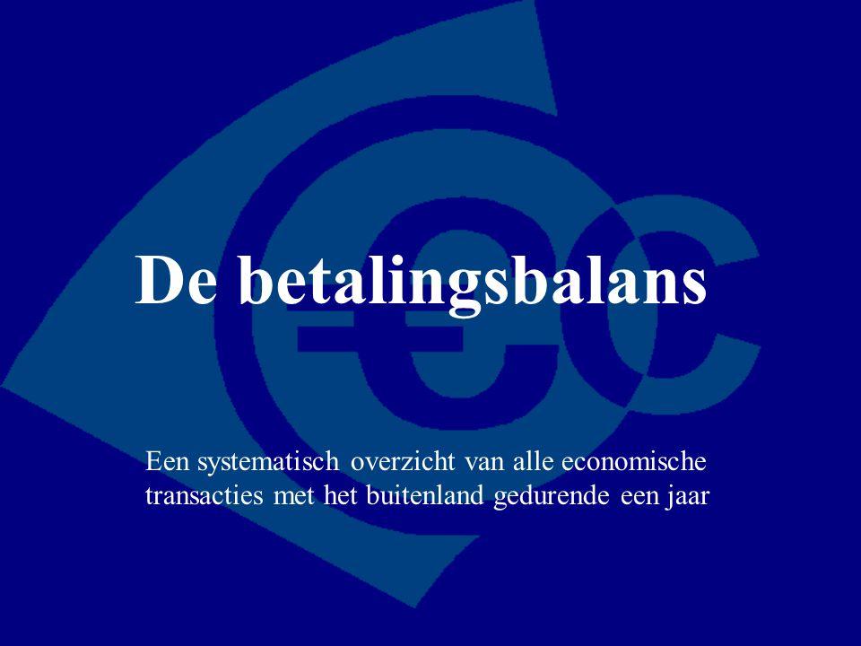 Goederenrekening Dienstenrekening Inkomensrekening Kapitaalrekening Salderingsrekening Waarde van de uitvoer Waarde van aan het buitenland verleende diensten -Ontvangen primaire inkomens -Ontvangen inkomensoverdrachten -Ontvangen kredieten -Buitenlandse investeringen en beleggingen in Nederland Afname goud en deviezen Waarde van de invoer Waarde van door het buitenland verleende diensten -Betaalde primaire inkomens -Betaalde inkomensoverdrachten -Verleende kredieten -Nederlandse investeringen en beleggingen in het buitenland Toename goud en deviezen Lopende rekening Ontvangsten Uitgaven