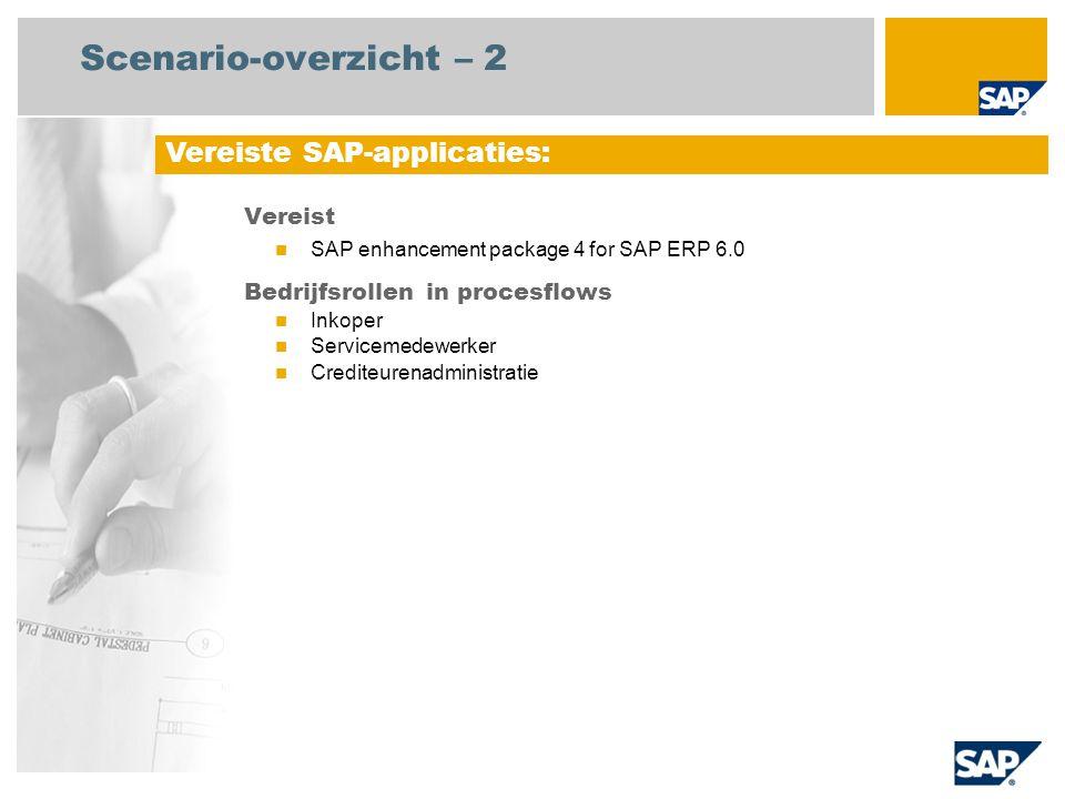 Scenario-overzicht – 2 Vereist SAP enhancement package 4 for SAP ERP 6.0 Bedrijfsrollen in procesflows Inkoper Servicemedewerker Crediteurenadministra