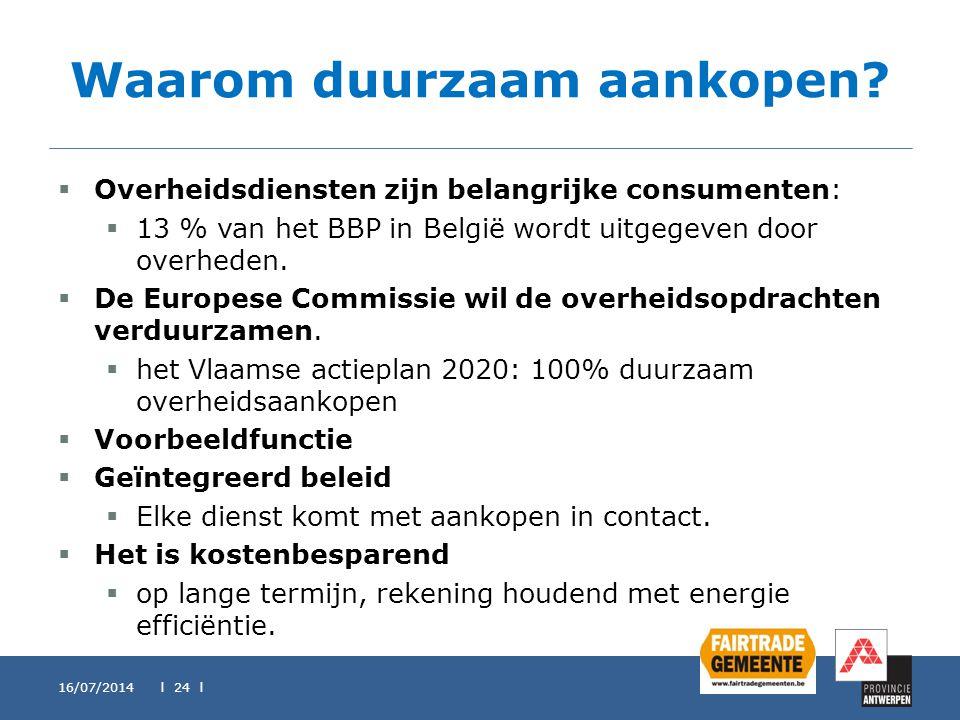 Waarom duurzaam aankopen?  Overheidsdiensten zijn belangrijke consumenten:  13 % van het BBP in België wordt uitgegeven door overheden.  De Europes