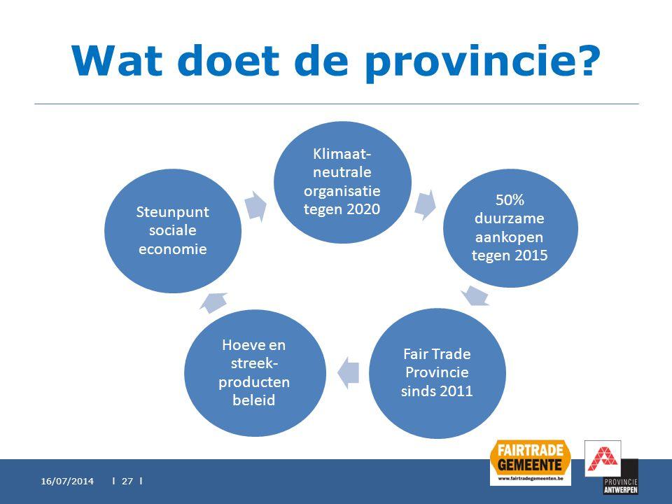 Wat doet de provincie? Klimaat- neutrale organisatie tegen 2020 50% duurzame aankopen tegen 2015 Fair Trade Provincie sinds 2011 Hoeve en streek- prod