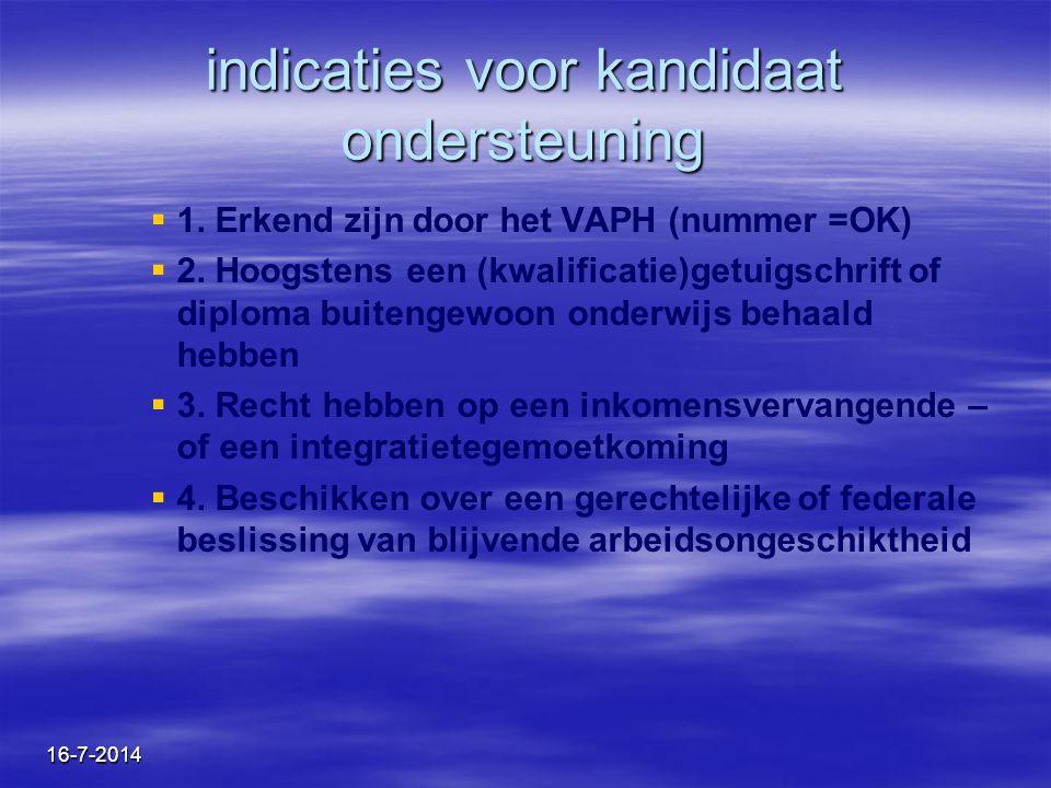 16-7-2014 indicaties voor kandidaat ondersteuning   1. Erkend zijn door het VAPH (nummer =OK)   2. Hoogstens een (kwalificatie)getuigschrift of di