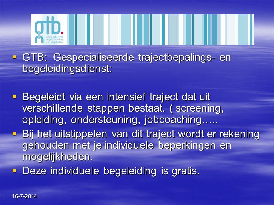 16-7-2014  GTB: Gespecialiseerde trajectbepalings- en begeleidingsdienst:  Begeleidt via een intensief traject dat uit verschillende stappen bestaat