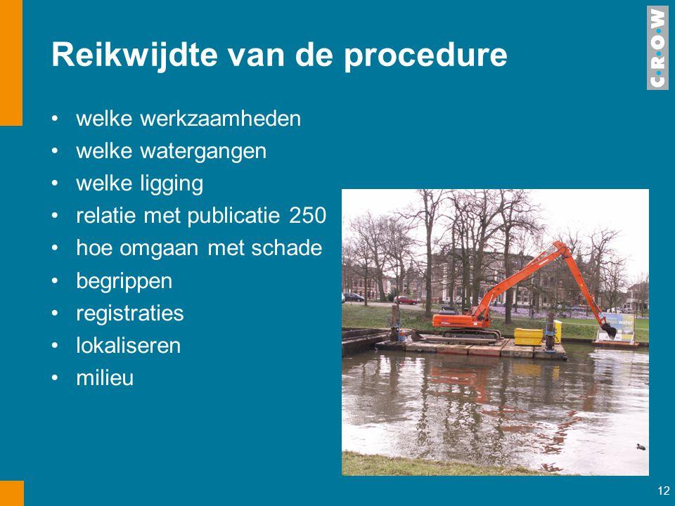 12 Reikwijdte van de procedure welke werkzaamheden welke watergangen welke ligging relatie met publicatie 250 hoe omgaan met schade begrippen registra
