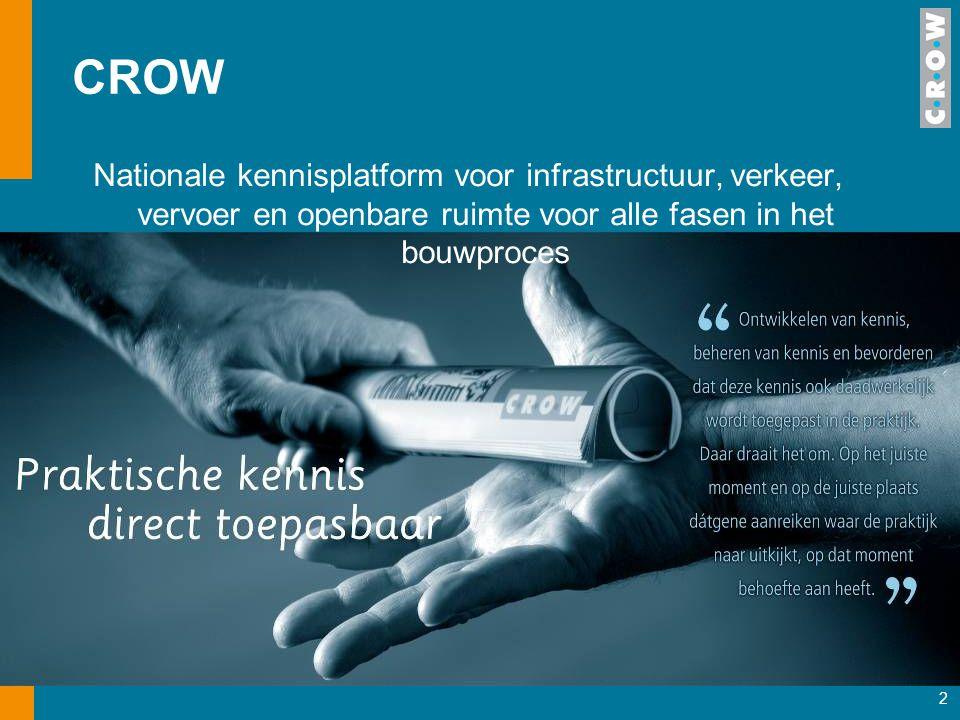 2 CROW Nationale kennisplatform voor infrastructuur, verkeer, vervoer en openbare ruimte voor alle fasen in het bouwproces